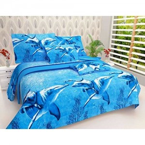 K V TEX Premium Quality Cotton Double Bedsheet with 2 Pillow Covers (Queen Size)