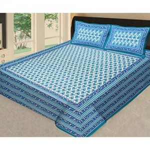 Satyam Textile 100% Cotton Double Bedsheet with 2 Pillow Covers_Multicolor_225X270 cm