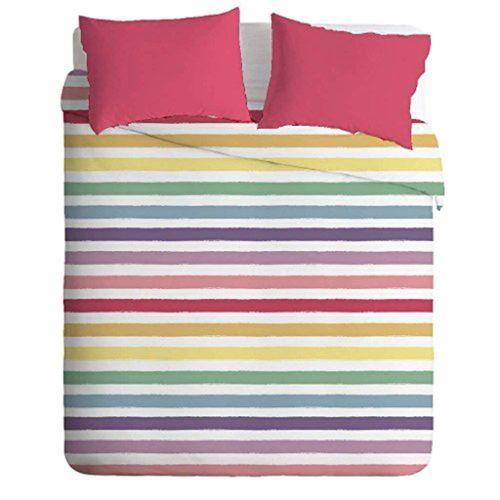 Casa Copenhagen Exotic Linen Collection 300 TC 3 Piece Cotton Double Bedsheet with 2 Pillow Covers - Multicolour