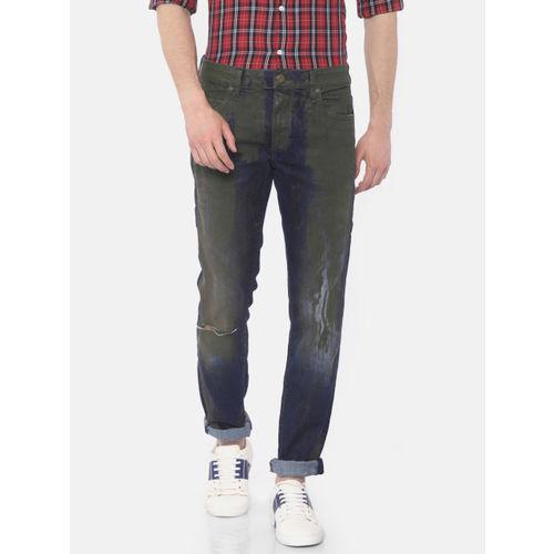 Jack & Jones Men Blue & Brown Tim Slim Fit Mid-Rise Slash Knee Jeans