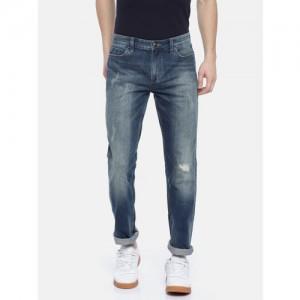 Calvin Klein Jeans Men Blue Slim Fit Mid-Rise Low Distress Stretchable Jeans