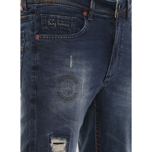 Being Human Blue Skinny Fit Mid-Rise Mildly Distressed Stretchable Jeans