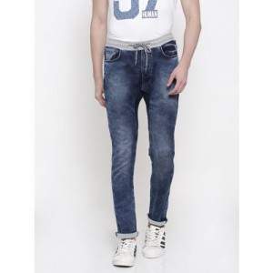 Being Human Clothing Men Blue Jogger Fit Mid-Rise Clean Look Stretchable Jeans