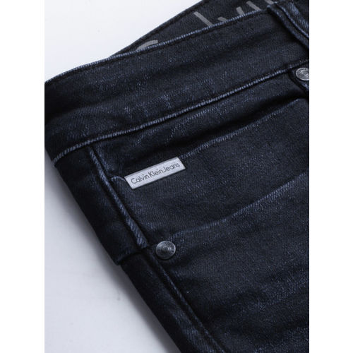 Calvin Klein Jeans Men Navy Blue Slim Fit Mid-Rise Clean Look Stretchable Jeans