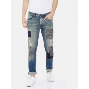 Jack & Jones Men Blue Tim Slim Fit Low-Rise Mildly Distressed Stretchable Jeans