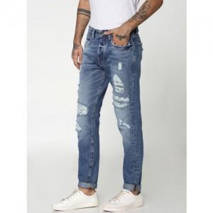 Jack & Jones Men Blue Anti Erik Fit Low-Rise Highly Distressed Jeans