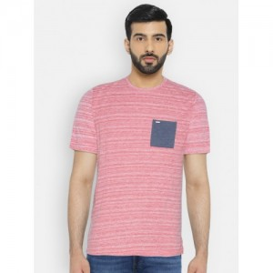 Numero Uno Red Striped Round Neck T-shirt