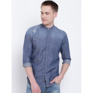 Numero Uno Blue Slim Fit Faded Denim Shirt
