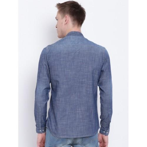 Numero Uno Blue Slim Fit Faded Denim Shirt