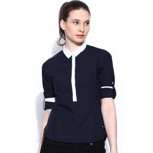 Numero Uno NavyBlue Solid Shirt Collar Top