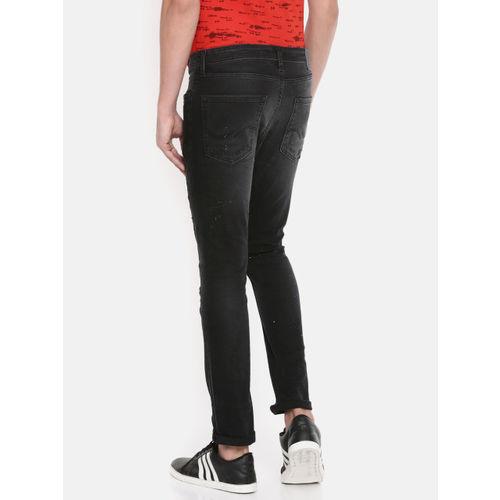 Jack & Jones Men Black Ben Skinny Fit Low-Rise Mildly Distressed Jeans