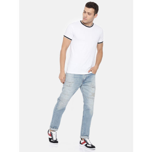 Levis Men Blue 502 Tapered Fit Mid-Rise Highly Distressed Jeans