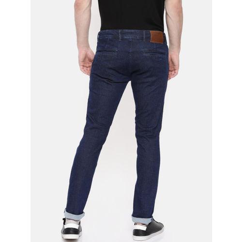 Jack & Jones Men Navy Blue Tim Slim Fit Low-Rise Clean Look Stretchable Jeans