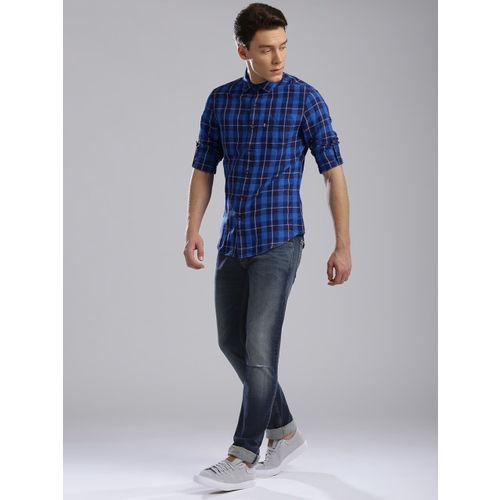Levis Men Navy Skinny Straight Fit Mid-Rise Slash Knee Stretchable Jeans