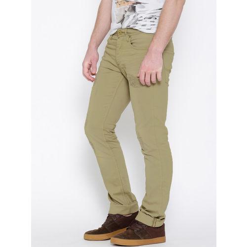 Jack & Jones Khaki Washed Clark Regular Fit Stretchable Jeans