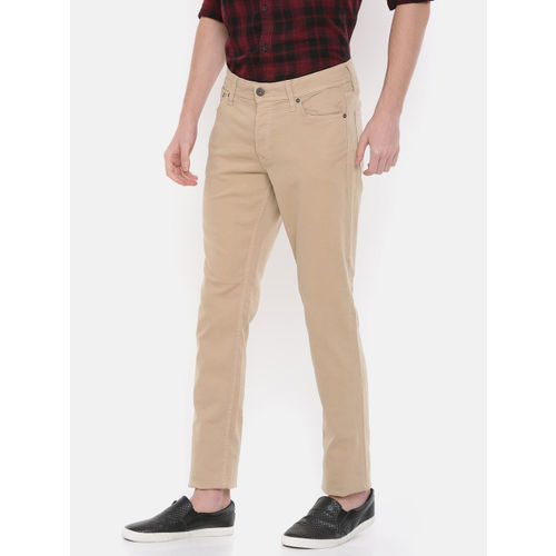 9526820486f ... Jack & Jones Men Beige Slim Fit Mid-Rise Clean Look Stretchable Jeans  ...