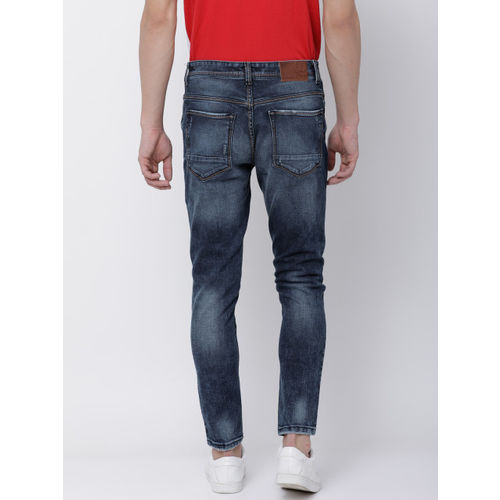 LOCOMOTIVE Men Blue Tapered Fit Mid-Rise Mildly Distressed Stretchable Jeans