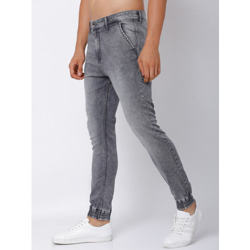 LOCOMOTIVE Men Grey Jogger Mid-Rise Clean Look Stretchable Jeans