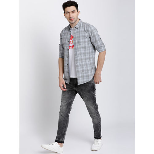 LOCOMOTIVE Men Grey Tapered Fit Mid-Rise Clean Look Stretchable Jeans
