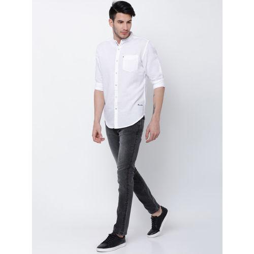LOCOMOTIVE Men Grey & Black Slim Fit Mid-Rise Clean Look Jeans