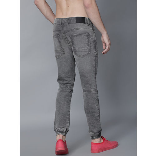LOCOMOTIVE Men Grey Jogger Mid-Rise Clean Look Stretchable Joggers