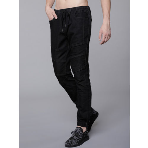 LOCOMOTIVE Men Black Jogger Mid-Rise Clean Look Stretchable Jeans