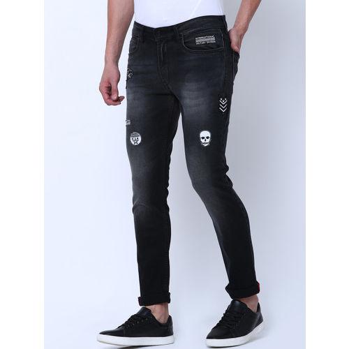 LOCOMOTIVE Men Black Slim Fit Mid-Rise Clean Look Stretchable Jeans
