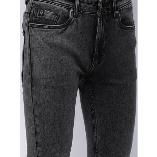 LOCOMOTIVE Men Charcoal Slim Fit Mid-Rise Clean Look Stretchable Jeans