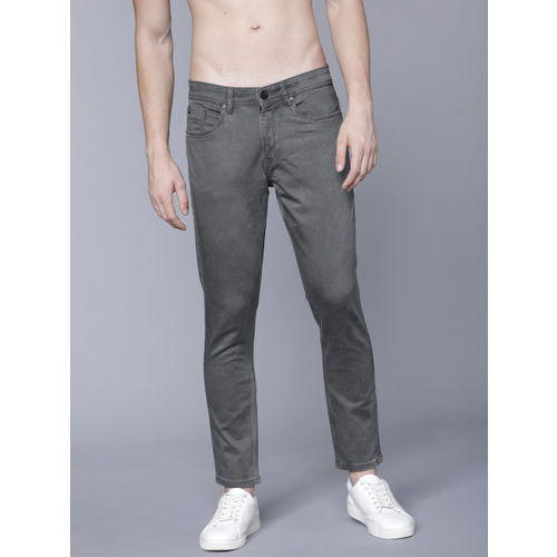 LOCOMOTIVE Men Olive Grey Tapered Fit Mid-Rise Clean Look Jeans