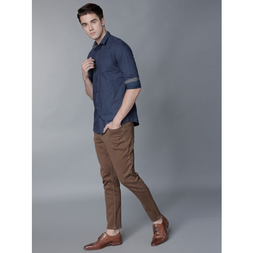 LOCOMOTIVE Men Brown Tapered Fit Mid-Rise Clean Look Stretchable Jeans
