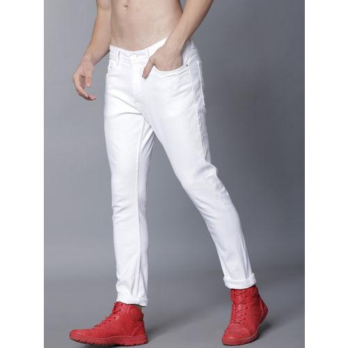 LOCOMOTIVE Men White Slim Fit Mid-Rise Clean Look Stretchable Jeans