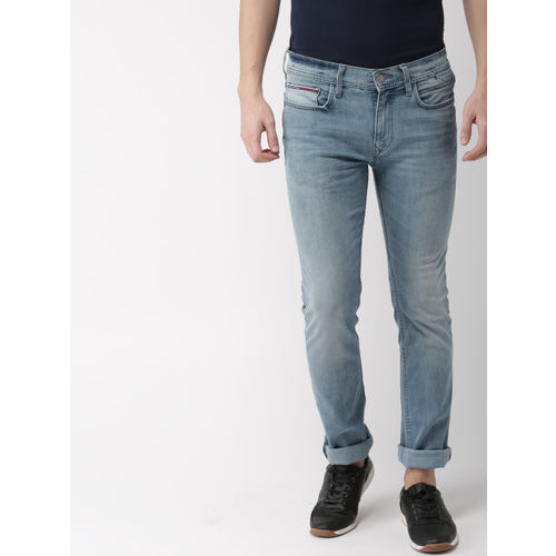 a1e3d4454 ... Tommy Hilfiger Men Blue Fitted Slim Fit Mid-Rise Clean Look Jeans ...