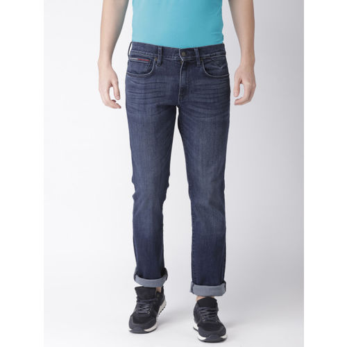 Tommy Hilfiger Men Blue Straight Fit Mid-Rise Clean Look Stretchable Jeans