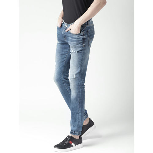 Tommy Hilfiger Men Blue Slim Fit Mid-Rise Mildly Distressed Stretchable Jogger Jeans