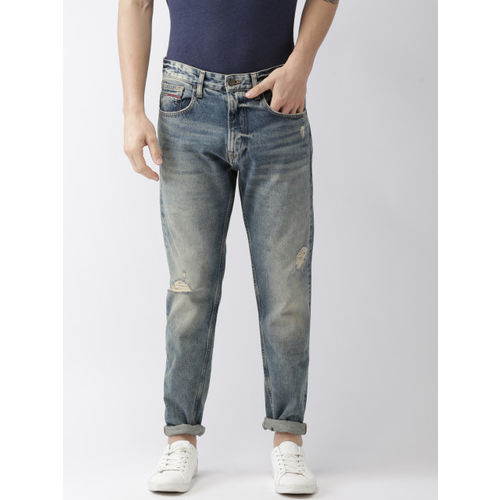Tommy Hilfiger Men Blue Slim Fit Mid-Rise Mildly Distressed SCANTON Stretchable Jeans