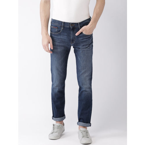 c63cc5eac ... Tommy Hilfiger Men Blue Straight Fit Mid-Rise Clean Look Stretchable  Jeans ...