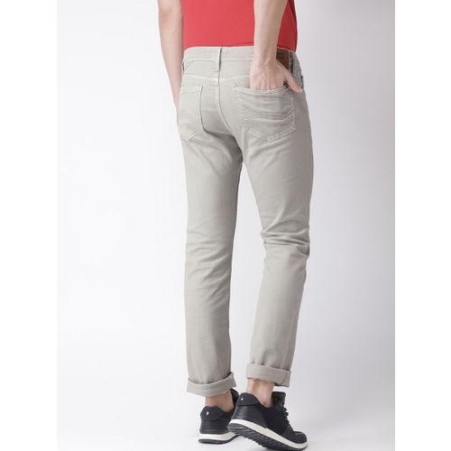 Tommy Hilfiger Men Grey Sage Slim Fit Mid-Rise Clean Look Stretchable Jeans
