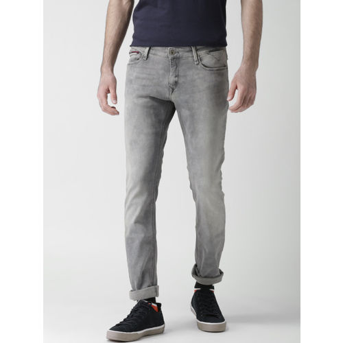 781b68035 ... Tommy Hilfiger Men Grey Skinny Fit Mid-Rise Clean Look Jeans ...