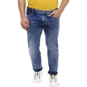 Mufti Dark Blue Slim Fit Solid Jeans