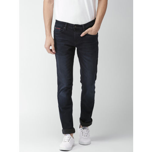 8f61e5de ... Tommy Hilfiger Men Navy Blue Scanton Slim Fit Mid-Rise Clean Look Stretchable  Jeans ...