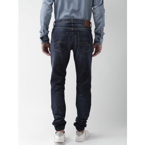 61125abcbb42 ... Tommy Hilfiger Men Navy Blue Slim Fit Mid-Rise Low Distress Stretchable  Jeans ...