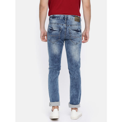 Mufti Men Blue Regular Fit Mid-Rise Clean Look Stretchable Jeans