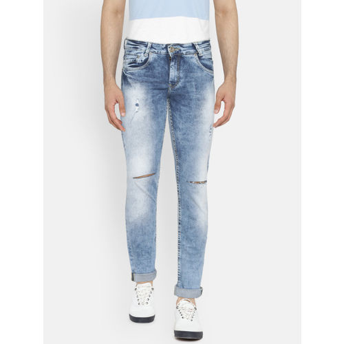 Mufti Men Blue Super Slim Fit Mid-Rise Mildly Distressed Stretchable Jeans