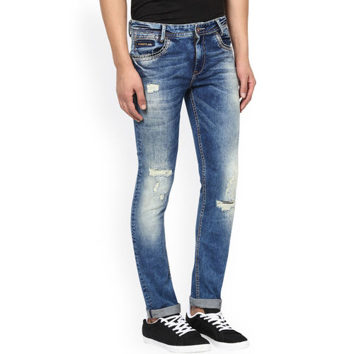 Mufti Men Blue Super Slim Fit Mid Rise Mildly Distressed Jeans
