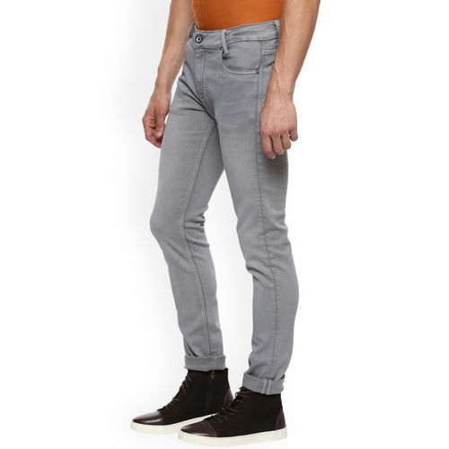 Mufti Men Grey Skinny Fit Mid-Rise Clean Look Stretchable Jeans