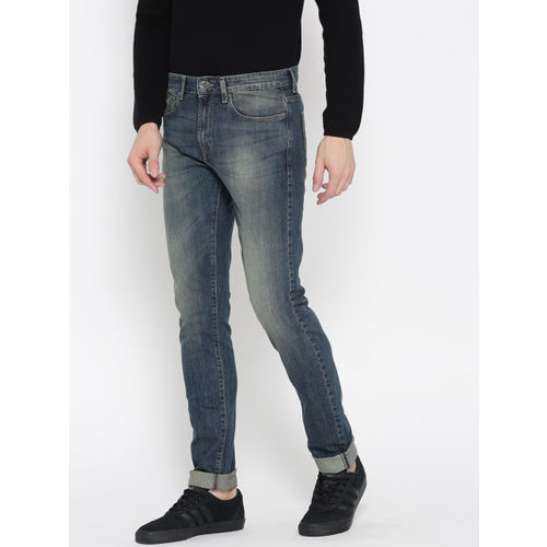 Pepe Jeans Men Blue Soho Super-Slim Fit Low-Rise Clean Look Stretchable Jeans