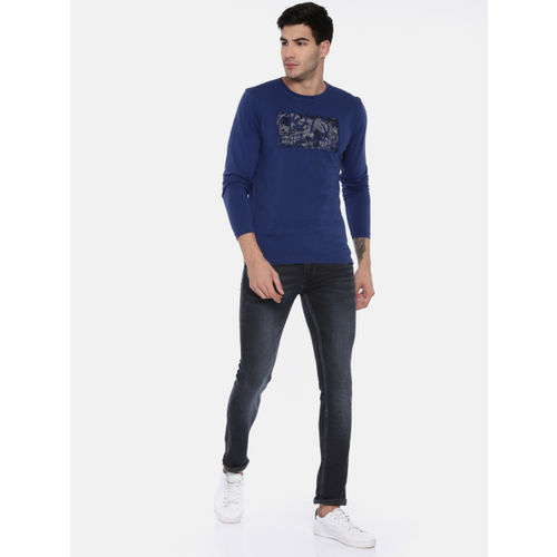 Pepe Jeans Men Navy Blue Cane Super Skinny Fit Low-Rise Clean Look Stretchable Jeans