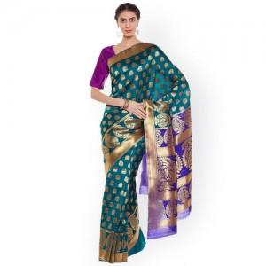 Chhabra 555 Green & Purple Art Silk Woven Design Banarasi Saree