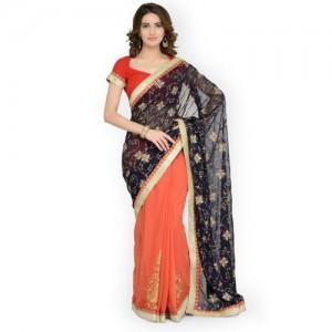 Chhabra 555 Orange & Blue Poly Georgette Embroidered Saree