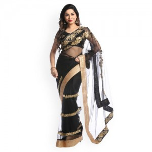 Chhabra 555 Black & Gold-Toned Net Embroidered Saree